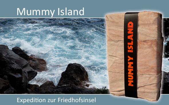 Mysterythriller, Krimi, Bestseller, Buch Wien, Mumien, Mummy Island, bandagiertes Buch, eingewickeltes Buch